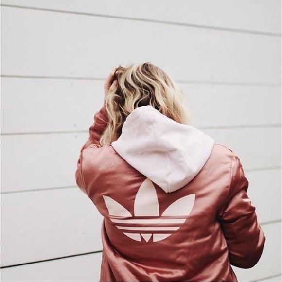 4809721cee0 adidas Jackets   Blazers - Adidas rose gold satin bomber jacket size small